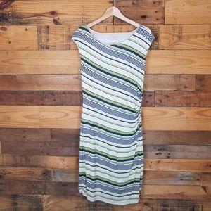 Ann Taylor Loft Side Ruched Striped Dress